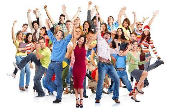 gente feliz con habilidades sociales